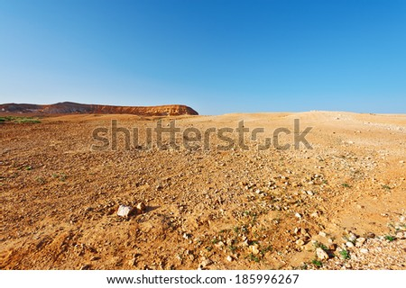 Judean Desert on the West Bank of the Jordan River - stock photo