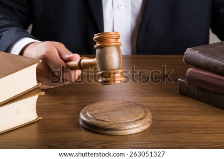 Judge, Courtroom, Gavel. - stock photo
