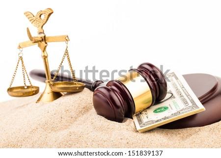 judge gavel and dollar money - stock photo