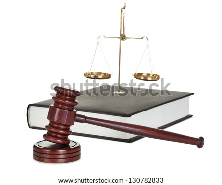 Judge gavel and law book. Isolated on white - stock photo