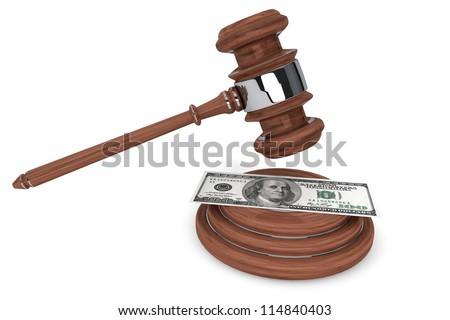 Judge gavel and one hundred dollars on a white background - stock photo
