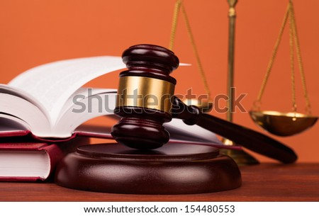 judge gavel and scales  of justice - stock photo
