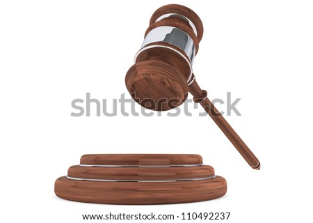Judge gavel and sound block on a white background - stock photo