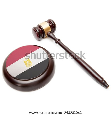 Judge gavel and soundboard with national flag on it - Egypt - stock photo