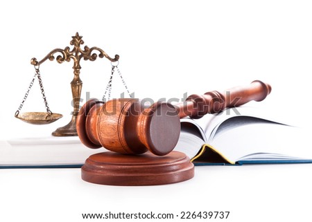 Judge gavel, book and scales  on a white background - stock photo