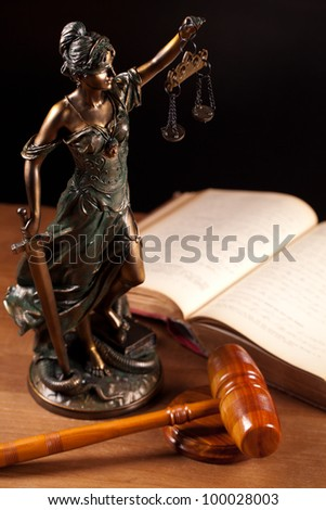 judge gavel, book and temida statue - stock photo