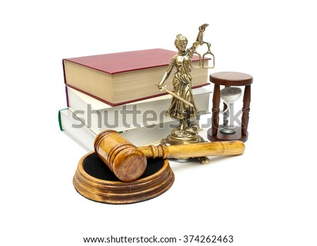 Judge gavel, books and a statue of justice on a white background. horizontal photo. - stock photo