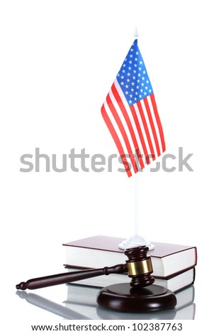 judge gavel, books and american flag isolated on white - stock photo