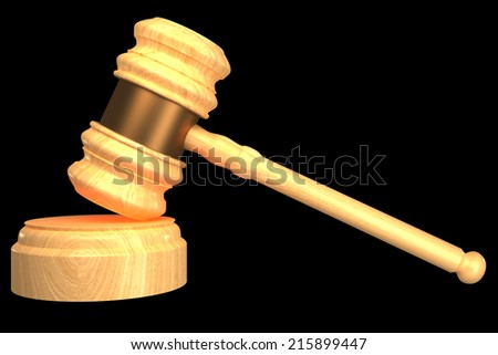 Judge gavel. isolated on black background 3d illustration. high resolution - stock photo