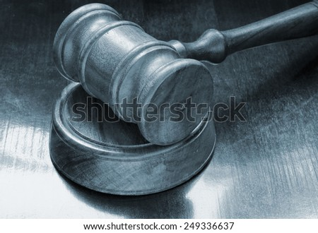 Judge gavel on table, court concept - stock photo