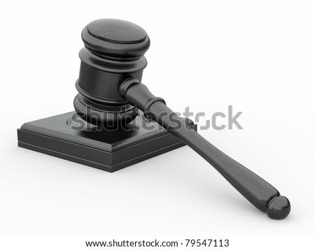 Judge gavel on white isolaed background. 3d - stock photo