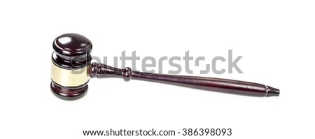 Judge hammer on white background - stock photo