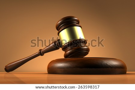 Judge, law, lawyer and Justice concept with a close-up 3d rendering of a gavel on a wooden desktop with brown background. - stock photo
