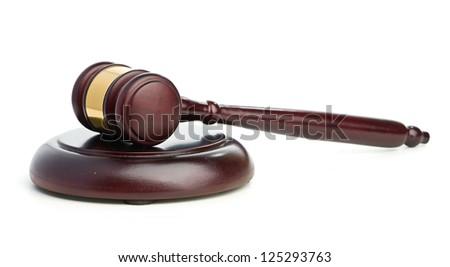 Judge's gavel isolated on white - stock photo
