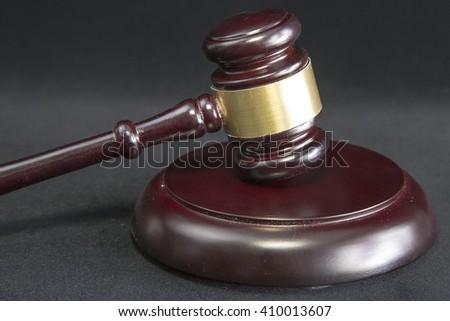 Judge's Gavel on black isolated background - stock photo