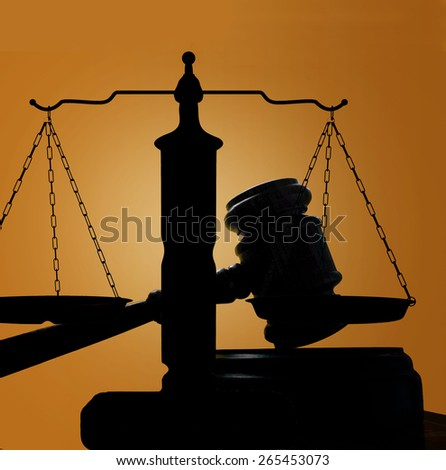 judges court gavel and scales of justice silhouette - stock photo