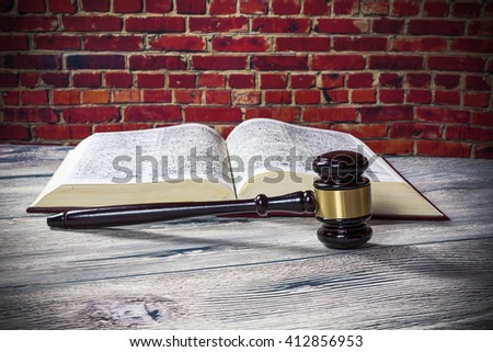 judges gavel and  book  - stock photo