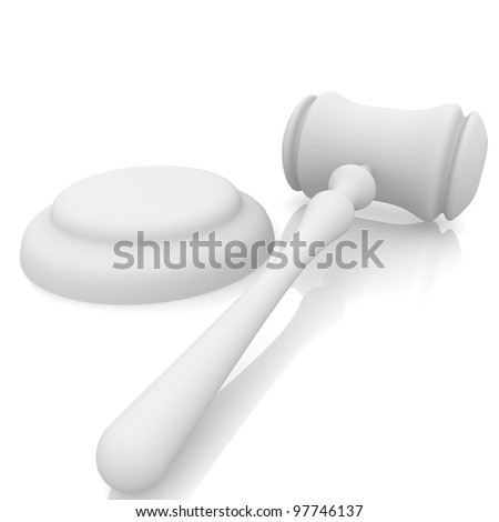 judges gavel and stand on a white background - stock photo