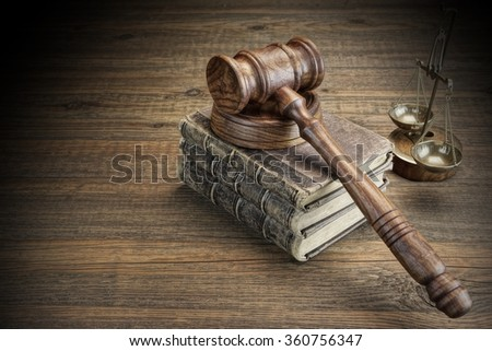 Judges Gavel, Legal Code, Scales Of Justice On The Rough Wooden Background. Law Concept - stock photo