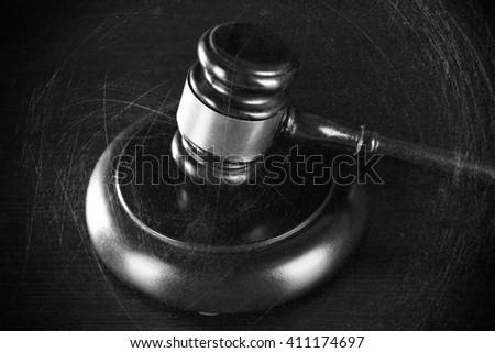 Judges gavel on table. Retro stylization - stock photo