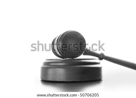 Judges wooden gavel isolated on white background - stock photo