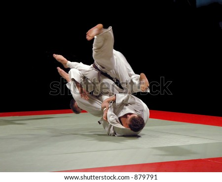 Judo fight (some noise) - stock photo