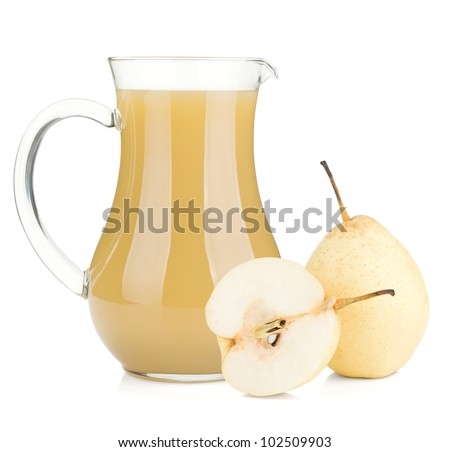 Jug of pear juice and ripe pears. Isolated on white background - stock photo
