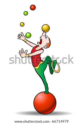 juggling with color balls acrobat performer on isolated white background illustration - stock photo