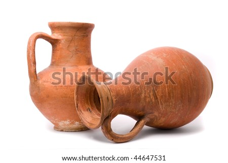 Jugs on white background - stock photo