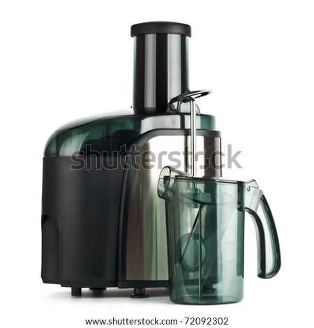 juice extractor isolated on white background, front view - stock photo