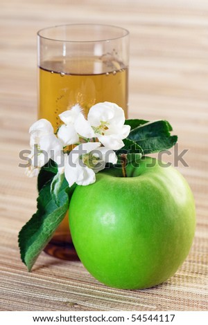 Juice, green apple and blossoming branch - stock photo