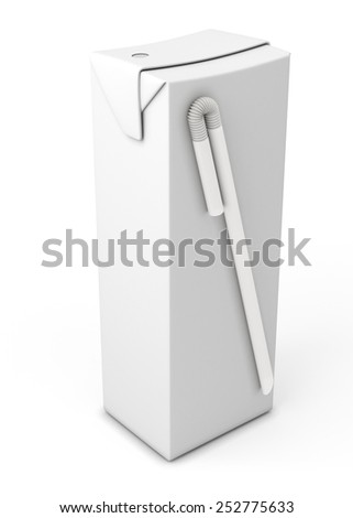 Juice in carton package isolated on white background. 3d render image. - stock photo