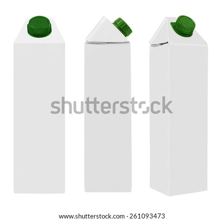 Juice or milk package isolated on white background - stock photo