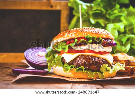Juicy and fragrant hamburger with fries homemade copy space for your text. - stock photo