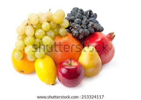 juicy and ripe fruit in assortment isolated on white background - stock photo