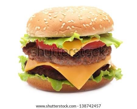 Juicy appetizing hamburger - stock photo