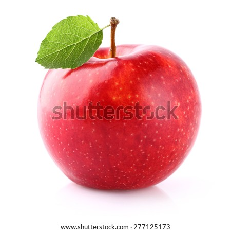 Juicy apple with leaf - stock photo