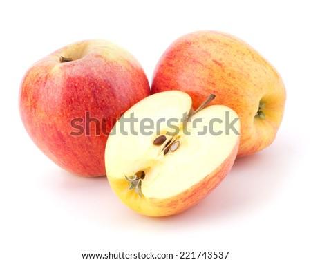 juicy apples isolated on white background - stock photo