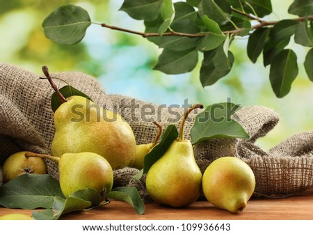 Juicy flavorful pears of nature background - stock photo