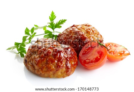juicy fried meat cutlets isolated on a white background - stock photo