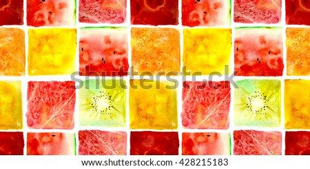 juicy fruit mosaic pattern, hand painted watercolor - stock photo