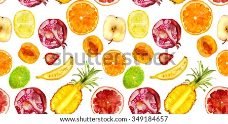 juicy fruits pattern: pomegranate, apricot, apple, banana, strawberry, pineapple, orange, lime, grapefruit. hand drawn watercolor - stock photo