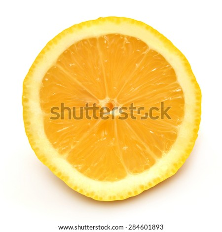 Juicy half of a lemon isolated on a white background - stock photo