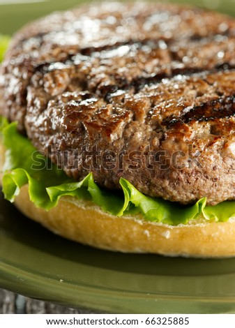 juicy hamburger patty closeup  (note-selective focus) - stock photo