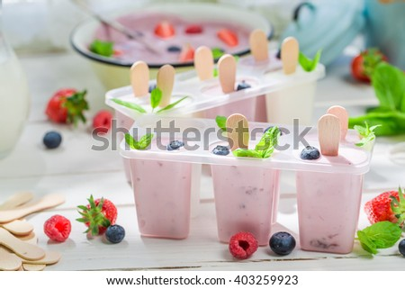 Juicy ice cream with fruity yogurt - stock photo