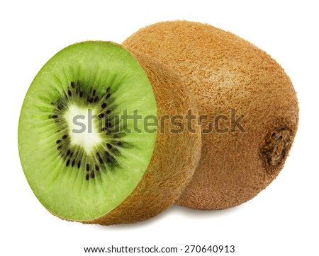 Juicy kiwi with section isolated on white background - stock photo