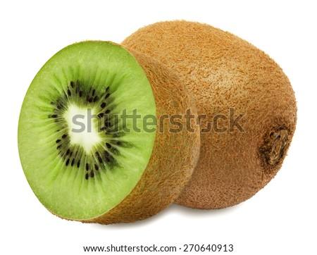 Juicy kiwi with slice isolated on white background - stock photo