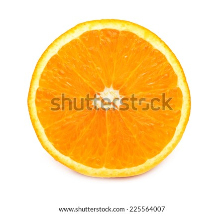 juicy orange pulp closeup macro on a white background, isolated - stock photo