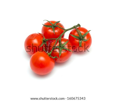 Juicy organic Cherry tomatoes isolated on white background - stock photo