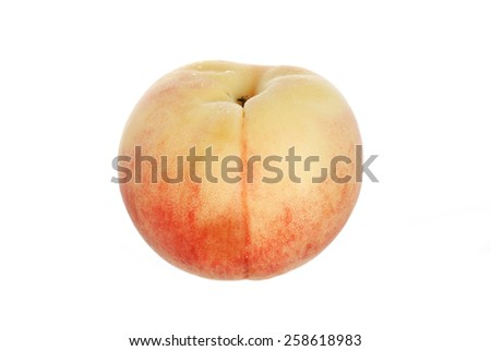 Juicy Peaches Isolated on White Background - stock photo